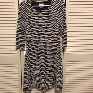 Navy and creme striped fit and flare dress